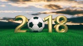 Nowy rok 2018 z piłki nożnej futbolową piłką na trawie, niebieskiego nieba tło ilustracja 3 d Zdjęcia Royalty Free