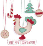 Nowy Rok zabawki ustawiać z koguta bielem Fotografia Royalty Free