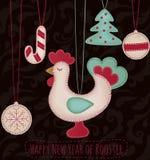 Nowy Rok zabawki ustawiać z kogutem Fotografia Stock