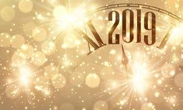 Nowy rok, 2019, zegar, bokeh, karta, błyskotanie, światło, błyszczący, Chris royalty ilustracja
