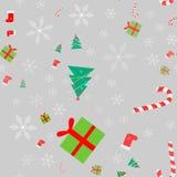 Nowy Rok zimy Bożenarodzeniowi wakacje barwią bezszwowego wzór z prezentami, cukierkiem, choinką i płatek śniegu, ilustracja wektor