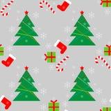 Nowy Rok zimy Bożenarodzeniowi wakacje barwią bezszwowego wzór z prezentami, cukierkiem, choinką i płatek śniegu, ilustracji
