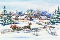 Nowy Rok zimy wioski krajobraz z Santa fotografia stock