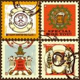 Nowy rok znaczki pocztowi ustawiający Obraz Royalty Free