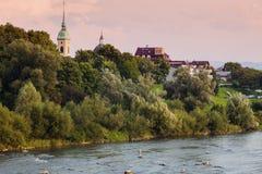 Nowy Sacz panorama with Dunajec River. Nowy Sacz, Lesser Poland, Poland Royalty Free Stock Photography