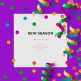 Nowy sezonu zaproszenia szablon z partyjnymi confetti Obraz Royalty Free