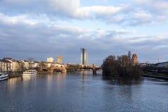 Nowy siedzenie europejski bank centralny w Frankfurt obrazy royalty free