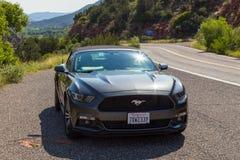 Nowy srebny Ford mustanga kabriolet w Arizona Obrazy Stock
