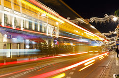 Nowy Swiat Street at night decked with with festive decoration Royalty Free Stock Images