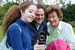 nowy telefon wykazując zdjęcie royalty free