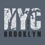 Nowy Tork Brooklyn odzieży i koszulki wektorowy projekt, druk, literówka Zdjęcia Stock
