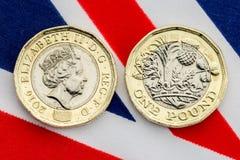 Nowy UK funtowej monety szczegół głowy i ogony Fotografia Stock