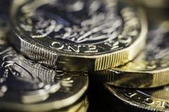 Nowy UK jeden funtowe monety Obraz Royalty Free