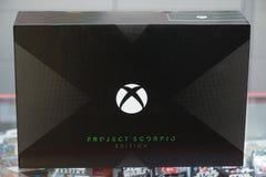 Nowy Xbox Jeden X projekta Scorpio wydania konsoli pudełko Fotografia Stock