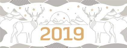 Nowy Year&-x27; s pokrywa dla miejsca z rogaczami, górami i liczbą patroszonymi cienkimi liniami, 2018 royalty ilustracja