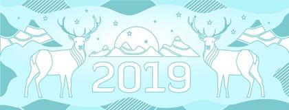 Nowy Year&-x27; s pokrywa dla miejsca z rogaczami, górami i liczbą patroszonymi cienkimi liniami, 2018 ilustracji