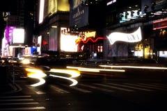 Nowy York, usa, Listopad 2018 - New York Times kwadrata ruch drogowy przy nocą obraz royalty free