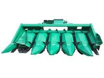 Nowy zielony kukurydzanego żniwiarza rolniczy narzędzie odizolowywający nad bielem Obraz Royalty Free
