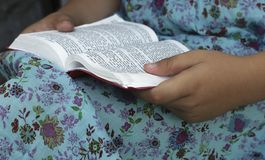 Nowych Testamentów psalmy biblii dziewczyny mały czytanie obrazy stock