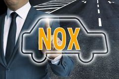 NOX with car touchscreen is operated by man concept royalty free stock photography