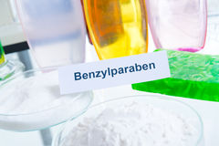 Noxious Additives In Cosmetics. Laboratory with chemical substances Royalty Free Stock Photos