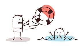 Noyade de l'homme et du sauveteur avec la bouée de sauvetage illustration stock
