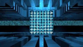 Noyau d'ordinateur constitué par des cubes illuminés avec la lumière bleue à l'intérieur d'une construction métallique recevant l banque de vidéos
