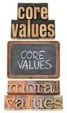 Noyau et valeurs morales photographie stock libre de droits