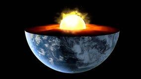 Noyau terrestre structure intérieure avec des couches géologiques rendu 3d image libre de droits