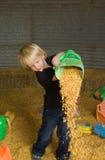 Noyaux de maïs pleuvants à torrents de petit garçon Photos stock
