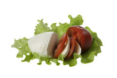 Nozarella με την ντομάτα στο φύλλο σαλάτας Στοκ φωτογραφίες με δικαίωμα ελεύθερης χρήσης