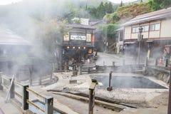Nozawa Onsen är en stad för varm vår som lokaliseras på nollan för den nordliga delen royaltyfri bild