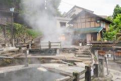 Nozawa Onsen ist eine Stadt der heißen Quelle, die auf dem nördlichen Teil O gelegen ist lizenzfreie stockfotografie