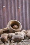 Nozes-pecã, rachadas, porcas, alimento, hulled, madeira, metal oxidado imagem de stock