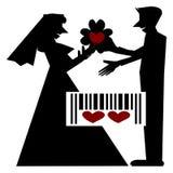 Nozze, Art Couple Silhouette, concetto del fumetto Fotografia Stock