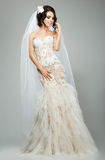 Nozze. Vestito nuziale da Wearing Sleeveless White del modello di moda sensuale romantico della sposa Fotografie Stock Libere da Diritti