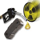 Nozzle, briquette and nuclear symbol Royalty Free Stock Photo