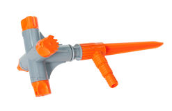 Nozzle for garden hose. A plastic nozzle for garden hose, isolated royalty free stock photo