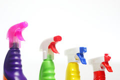 Nozzles of detergents. In plastic bottles Stock Images
