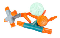 Nozzles for garden hose. Some different plastic nozzles for garden hose stock images