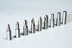Nozzles for screwdriver magnetic, metal on a white background stock photos