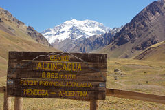 NP Aconcagua, горы Анд, Аргентина Стоковая Фотография RF