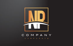 NP N P Golden Letter Logo Design with Gold Square and Swoosh. Stock Image