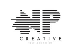 NP N P Zebra Letter Logo Design with Black and White Stripes Royalty Free Stock Photos