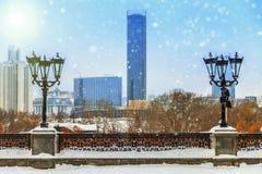 NPanorama της χιονισμένης χειμερινής πόλης Στοκ Εικόνες
