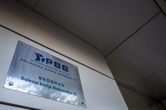 PBB logo on their former main office in Belgrade. Also known as Privredna Banka Beograd, it was a serbian bank stock photos