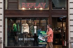 Replay Jeans logo in front of their main store in Belgrade. Replay Jeans, part of the group Fashion box, is a fashion retailer. NPicture of a sign with the stock photography
