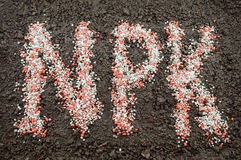 NPK-brieven van minerale meststoffen worden gemaakt die Stock Foto's