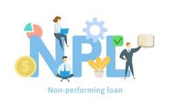 NPL, non-exécutant le prêt Concept avec des mots-clés, des lettres et des icônes Illustration plate de vecteur sur le fond blanc illustration stock