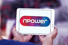 Npower energy company logo. Logo of energy and home services company npower on samsung tablet stock photo